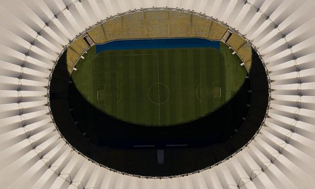 O estádio do Maracanã visto do alto durante a pandemia