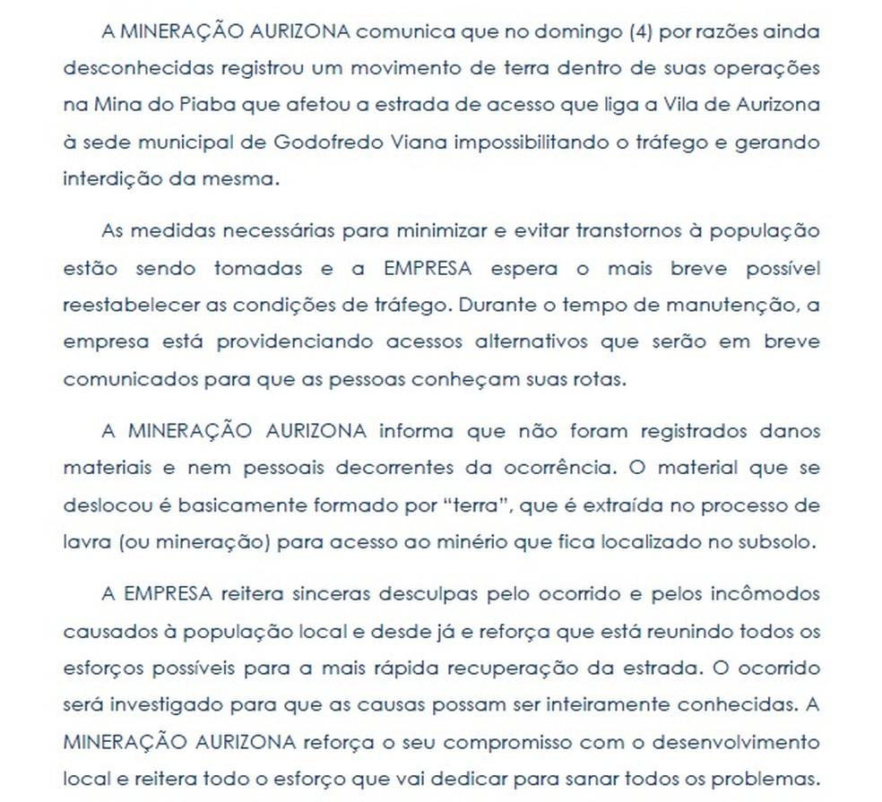 Nota da Mineradora Aurizona sobre o deslizamento de dejetos em Godofredo Viana — Foto: Mineradora Aurizona