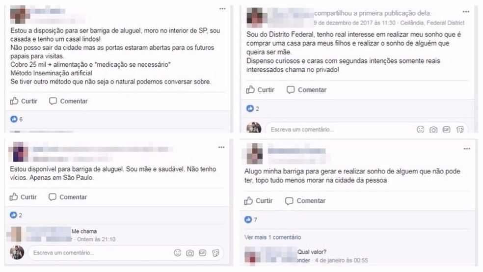 Anúncios de barriga de aluguel no Facebook; há grupos com até 3,3 mil membros (Foto: Reprodução/Facebook)