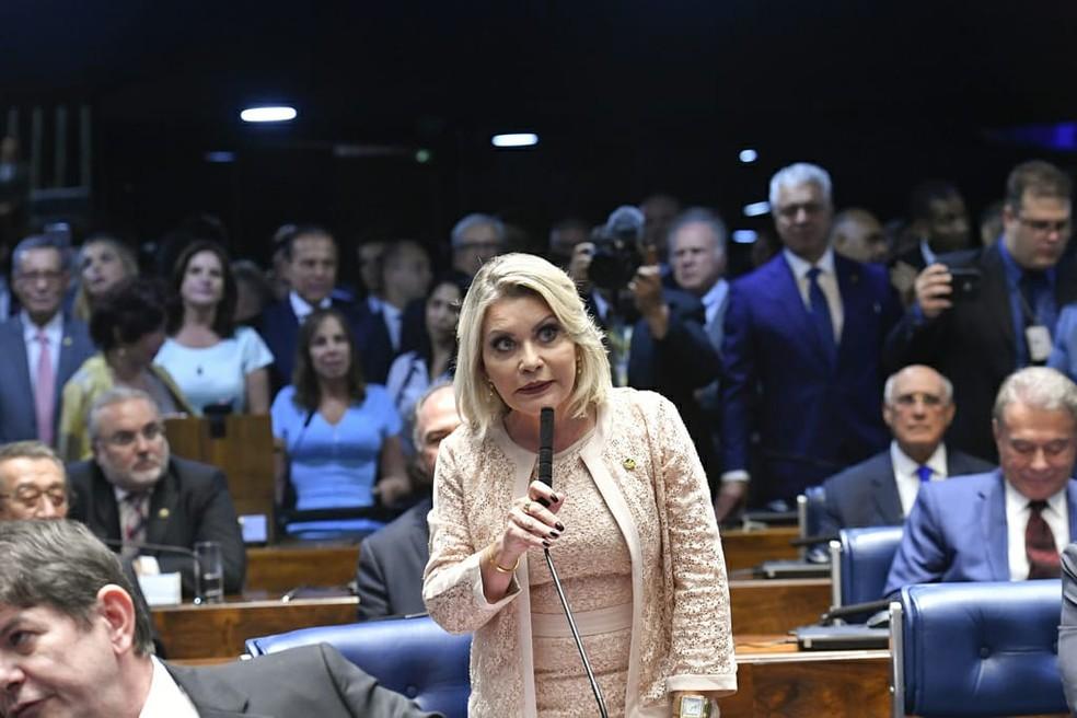 Selma Arruda (PSL) teve o mandato cassado — Foto: Geraldo Magela/Agência Senado