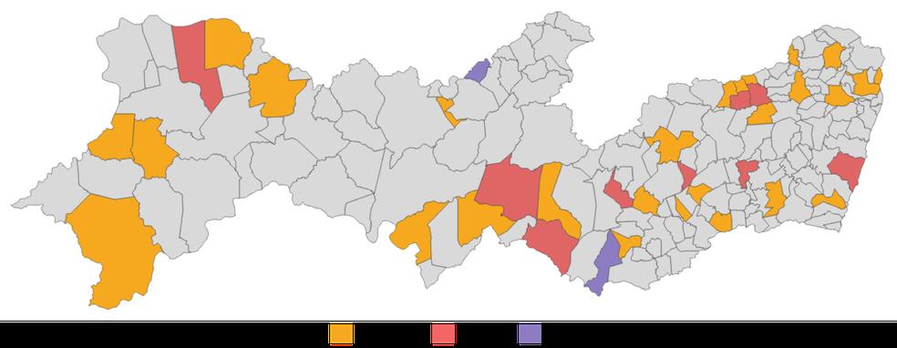 """Distribuição dos Municípios cujas Câmaras foram enquadradas nos Níveis de Transparência """"Insuficiente"""", """"Crítico"""" e """"Inexistente"""" no ITMPE 2018 — Foto: Reprodução/TCE"""