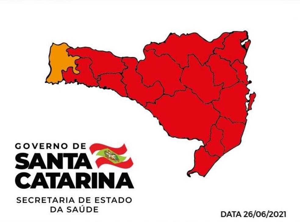 Matriz de Risco de SC em 26/06/2021 — Foto: Governo de SC/Divulgação