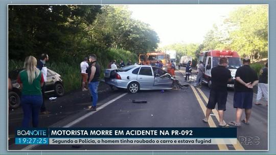 Homem que roubou carro morre em acidente durante a fuga, diz Polícia Civil