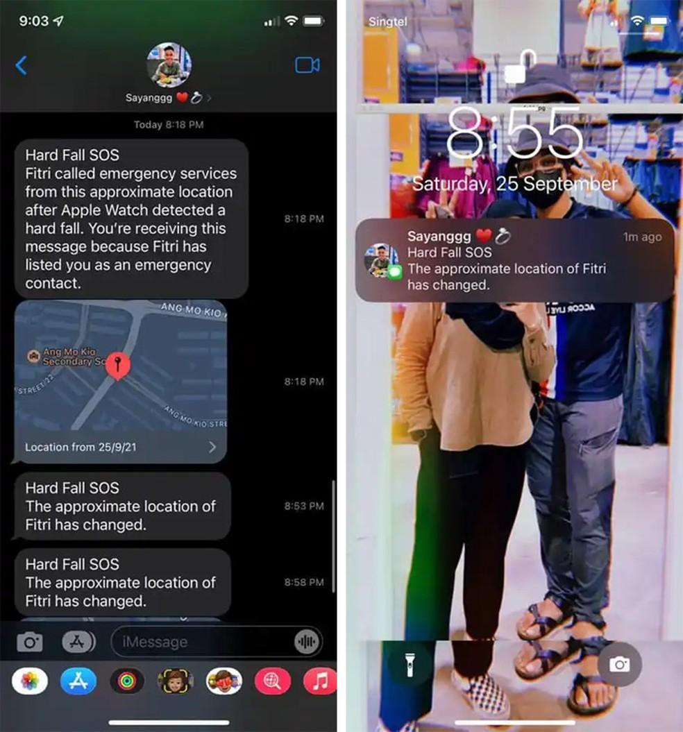 Telas do celular da namorada de Fitri com a chamada de emergência — Foto: Reprodução/9to5Mac