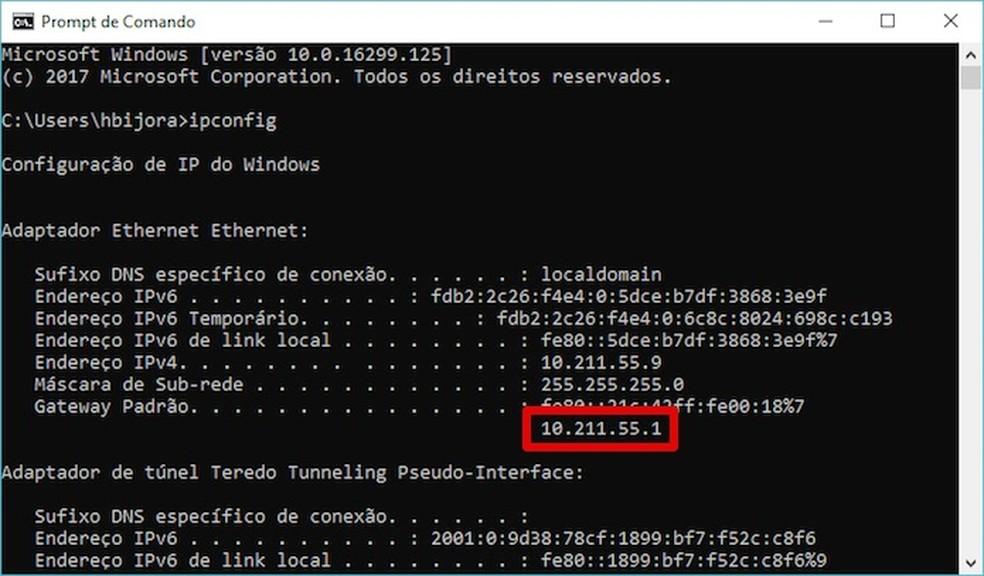 Descobrindo o endereço IP do roteador (Foto: Reprodução/Helito Bijora)