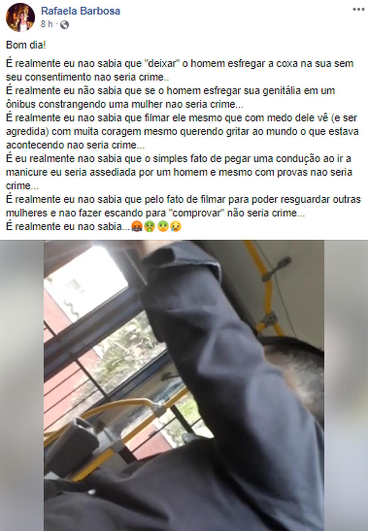 Mulher flagra homem tocando partes íntimas em ônibus e faz registro na delegacia: 'constrangedor' - G1