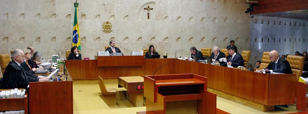 Ministros do STF, no plenário da Corte, durante a sessão desta quarta-feira (24) — Foto: Rosinei Coutinho/SCO/STF
