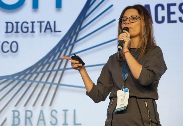 Patrícia Ellen, presidente da Optum no Brasil, durante o debate no evento GovTech, em São Paulo (Foto: Luis Simione)