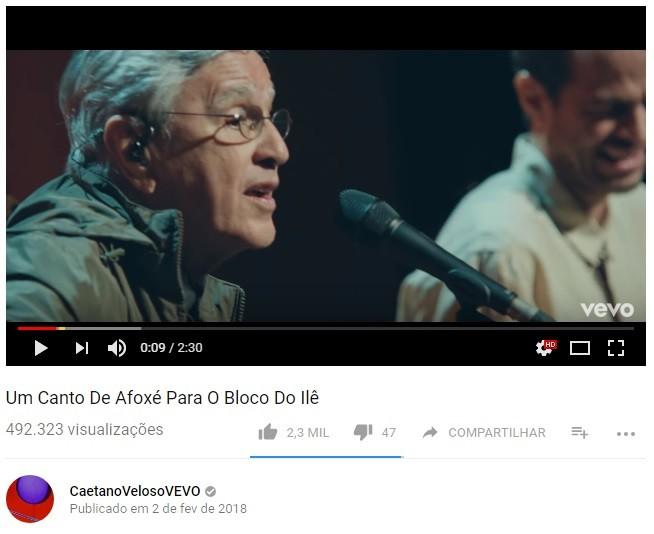 Página de Caetano Veloso no YouTube