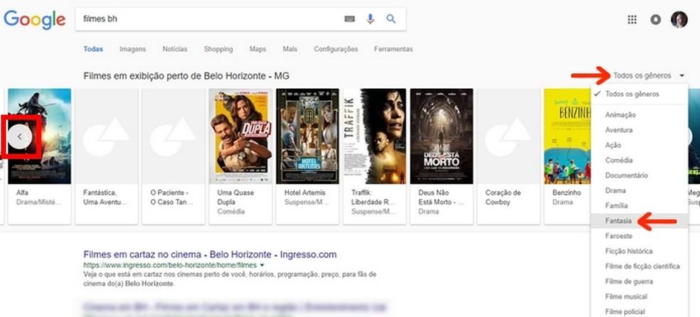 Aplique filtro de gênero do filme no Google para uma busca mais específica — Foto: Reprodução/Raquel Freire