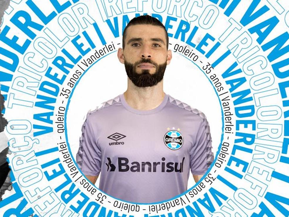 Vanderlei é o mais novo reforço do Grêmio — Foto: Divulgação, Grêmio