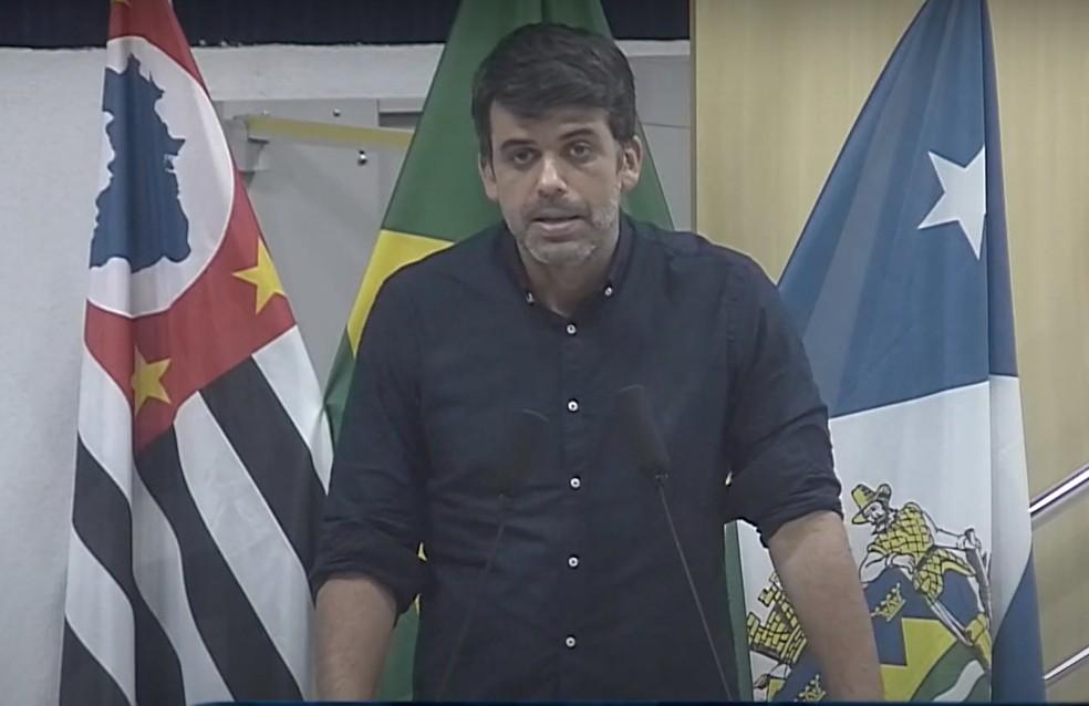 Rodrigo Luís Silva, Digão, foi vereador em Taubaté  — Foto: Reprodução/ TV Câmara Taubaté