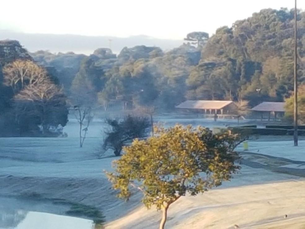 Parque Tingui amanheceu coberto de geada (Foto: Angela Yurk Rosa/RPC)
