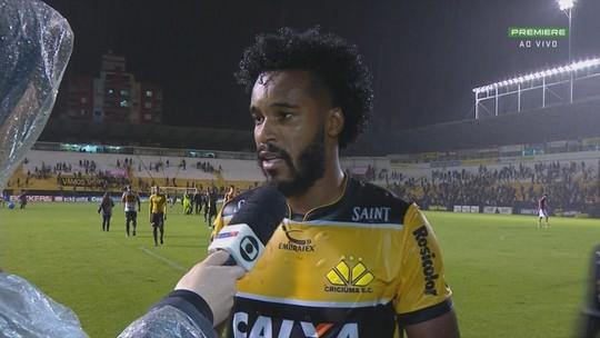 """Joanderson analisa empate do Criciúma em casa: """"lutamos até o final"""""""
