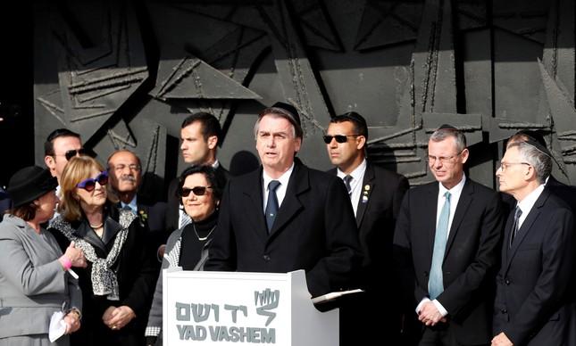 Jair Bolsonaro discursa no Centro de Memória do Holocausto, em Jerusalém