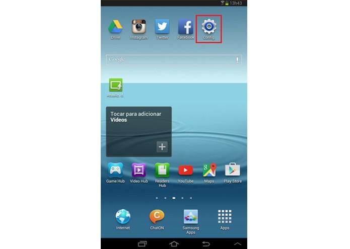Acesso às configurações do tablet (Foto: Reprodução/Lívia Dâmaso)