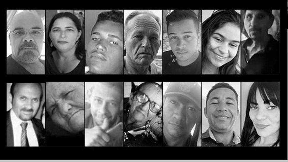 Vítimas que morreram em acidente no viaduto 'Ponte Torta', em João Monlevade (MG) — Foto: Arte/G1