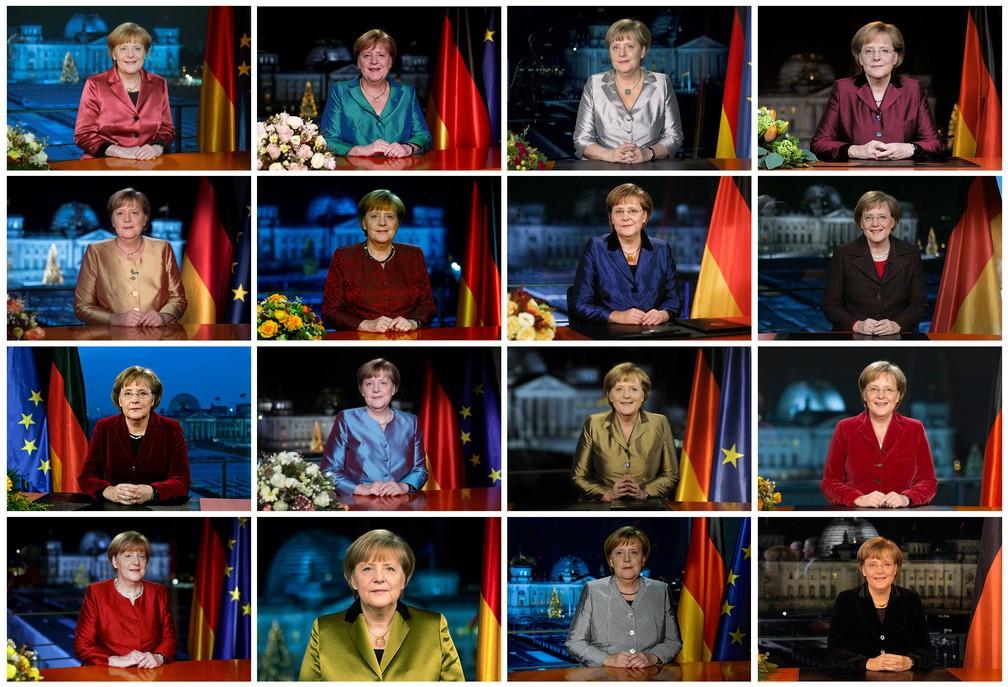 Mosaico com fotos da primeira-ministra da Alemanha, Angela Merkel, em suas mensagens televisivas anuais de Ano Novo, ao longo de seu mandato, de dezembro de 2005 a dezembro de 2020 — Foto: Reuters/Staff/File Photos