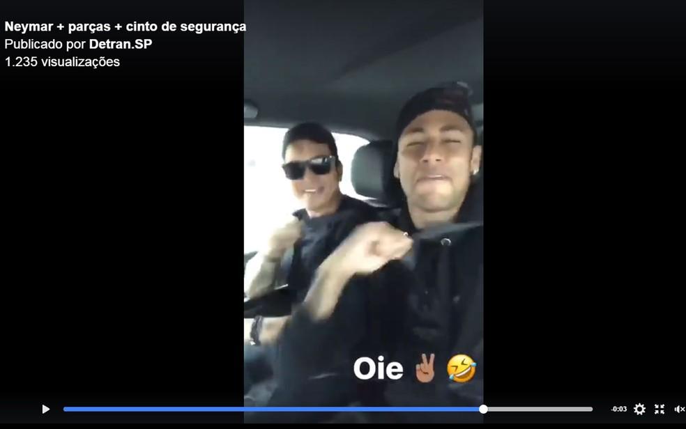 Post mostra Neymarusando o cinto de segurança (Foto: Reprodução/Facebook/Detran-SP)