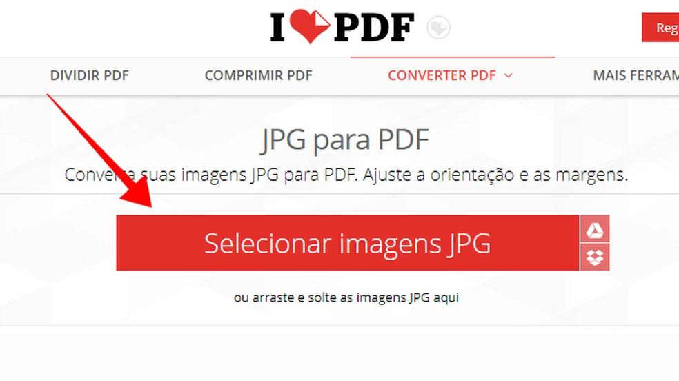 Importe imagens para o iLovePDF — Foto: Reprodução/Paulo Alves