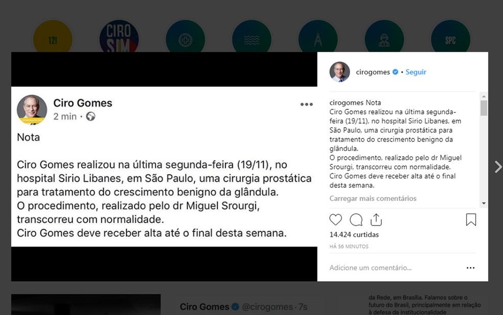 Ciro Gomes divulgou nota sobre sua cirugia — Foto: Instagram/Ciro Gomes
