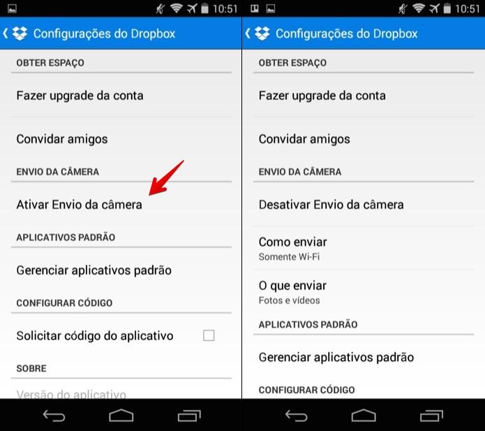 Configurando o envio de fotos do Dropbox (Foto: Reprodução/Helito Bijora)  (Foto: Configurando o envio de fotos do Dropbox (Foto: Reprodução/Helito Bijora) )