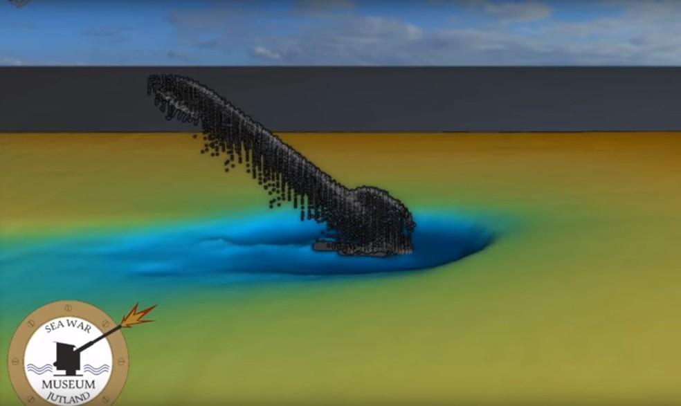 Varredura mostrou submarino nazista com parte enfiada no solo submarino (Foto: Sea War Museum Jutland/Divulgação)