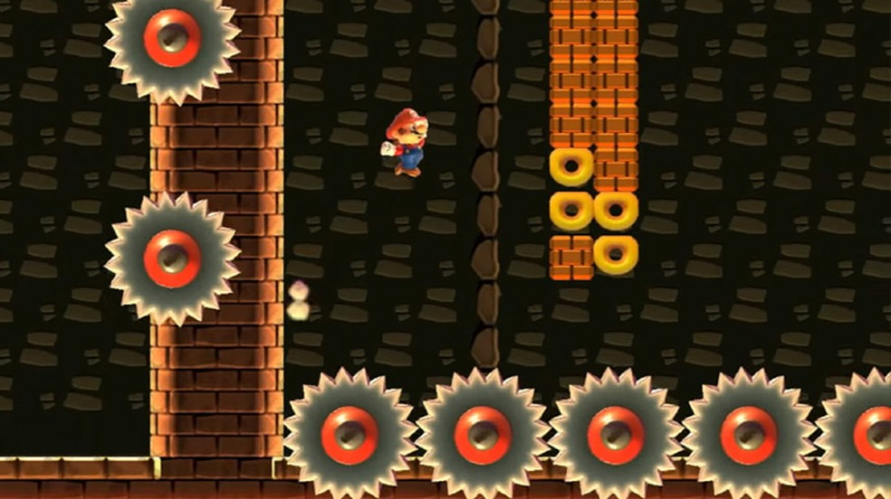 Super Mario Maker ganha uma bizarra versão de Super Meat Boy em uma de suas fases (Foto: Reprodução)