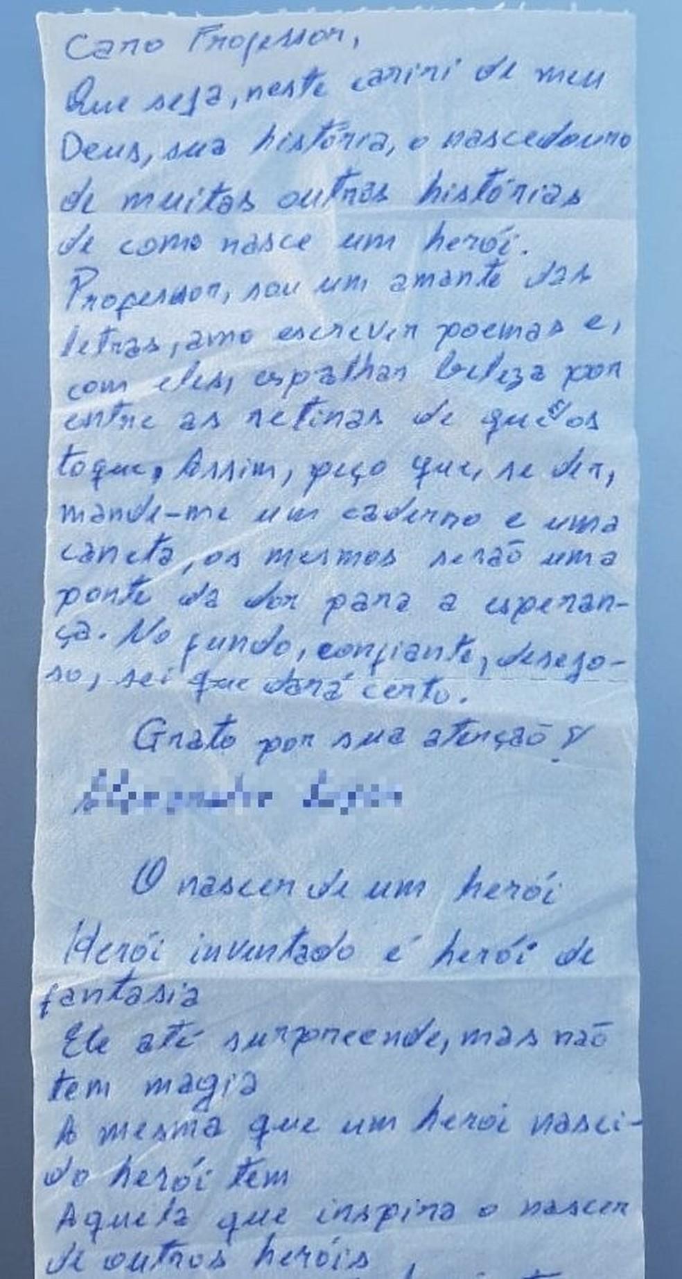 Detento escreve em papel higiência poema e carta com pedido de papel e caneta — Foto: Arquivo pessoal