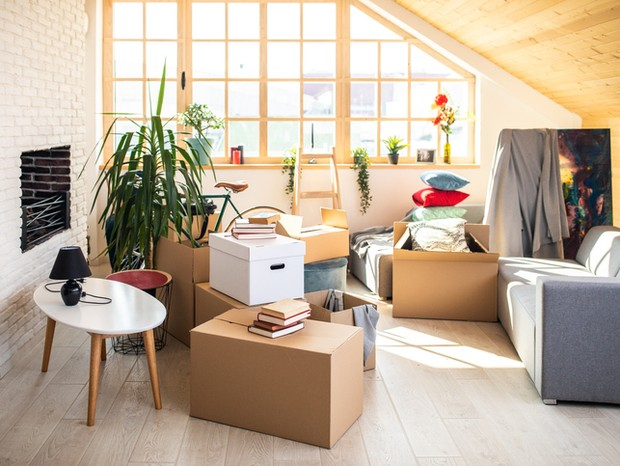 Packed Cardboard boxes in apartment, ladder, plants and other stuffs (Foto: Getty Images)