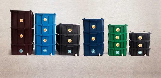 As composteiras podem ter vários tamanhos, permitindo com que você escolha a mais apropriada para a sua casa (Foto: E-cycle/ Reprodução)