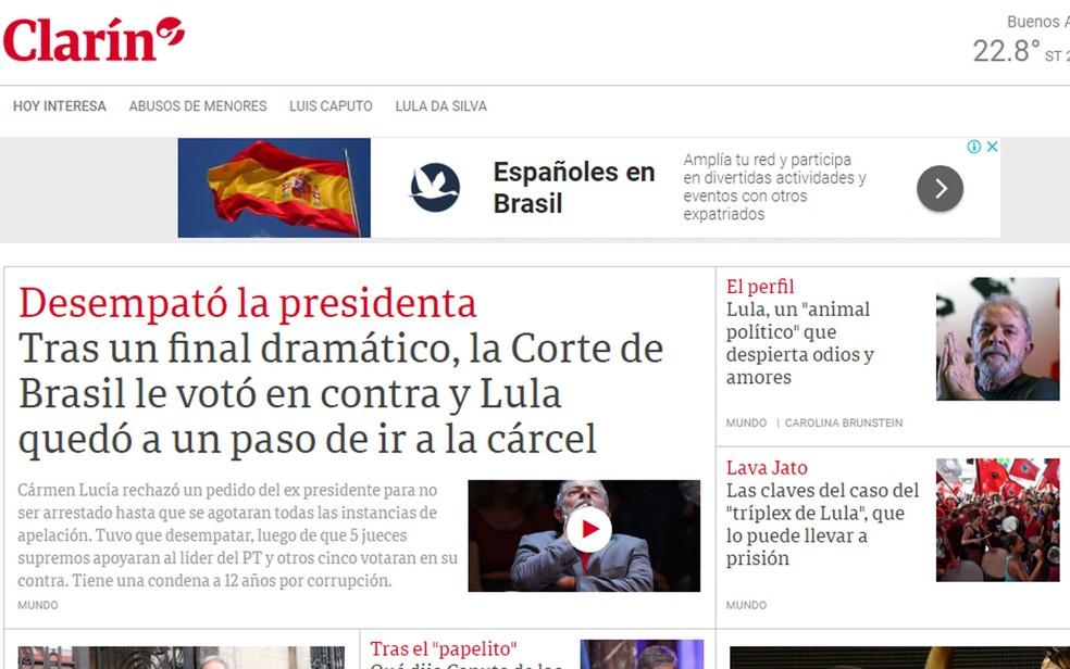 Argentino 'Clarín' destacou desenlace dramático de votação no STF (Foto: Reprodução/Clarín)