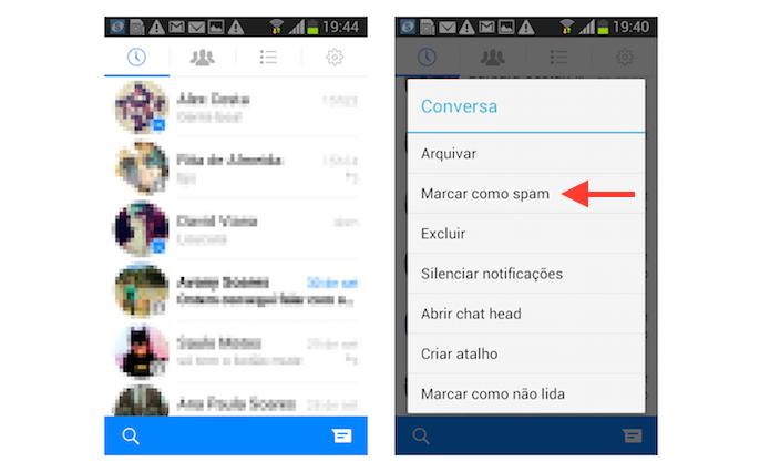 Marcando uma mensagem como spam no Facebook Messenger para Android (Foto: Reprodução/Marvin Costa)