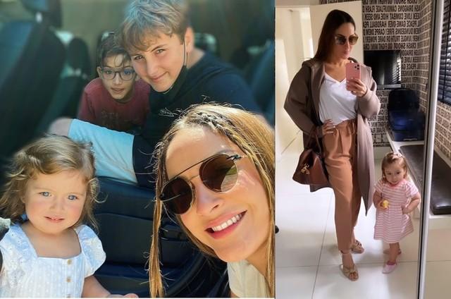 Claudia Leitte com os filhos Rafael, Davi e Bella (Foto: Reprodução)