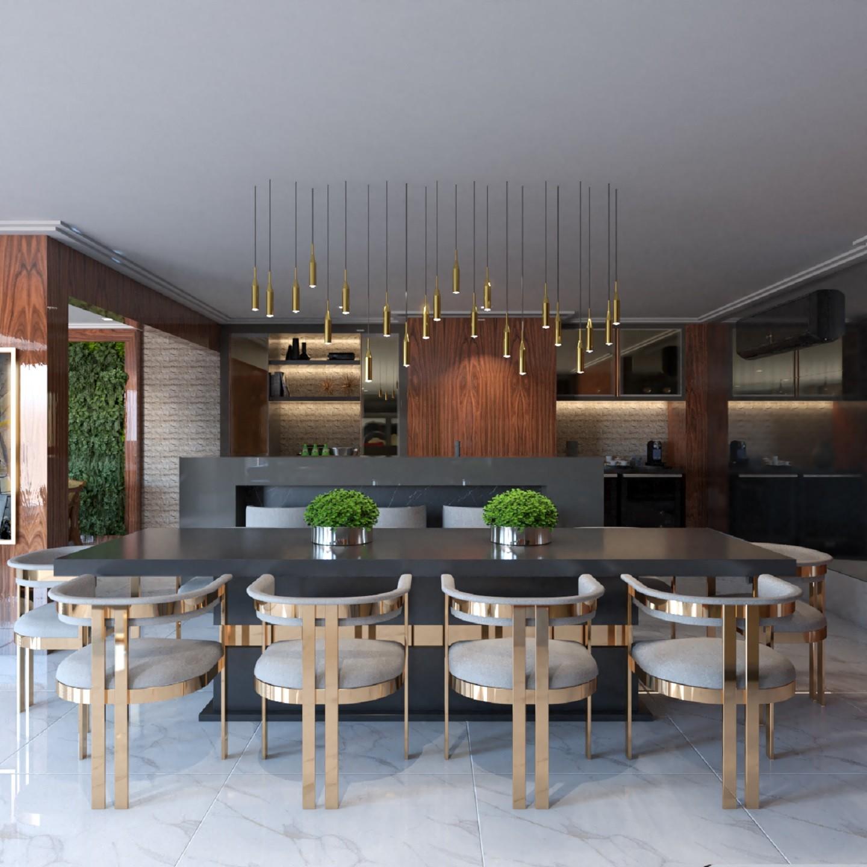 Cozinha com piso de porcelanato, mesa com 8 cadeiras e luminárias pendentes.
