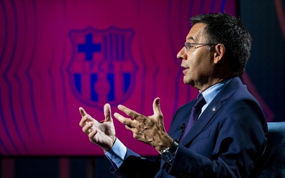Josep Maria Bartomeu, presidente do Barcelona, enfrente crise forte no clube — Foto: Germán Parga/Barcelona