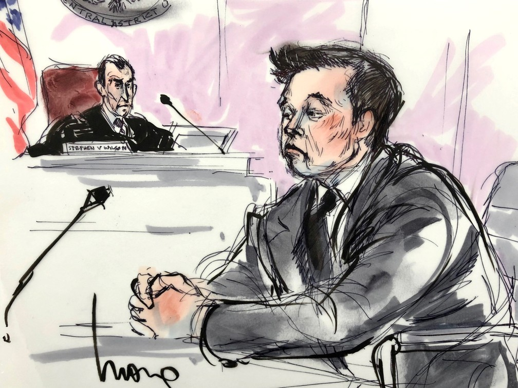 Illustration by Elon Musk during his trial this Friday (6). - Photo: Mona Shafer Edwards / Reuters