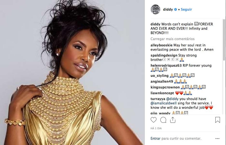 Um dos posts de Diddy em homenagem à atriz e modelo Kim Porter (Foto: Instagram)