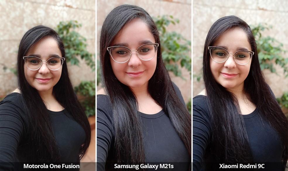 Comparativo das câmeras frontais do Motorola One Fusion, Samsung Galaxy M21s e Xiaomi Redmi 9C usando o modo retrato. — Foto: Arquivo pessoal