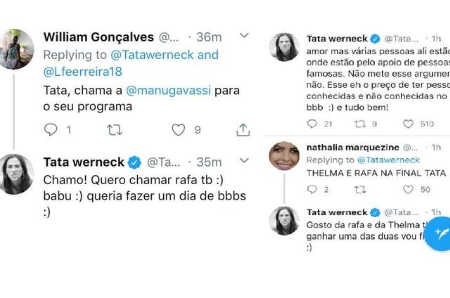 Tatá Werneck fala sobre 'BBB' no Twitter (Foto: Reprodução)