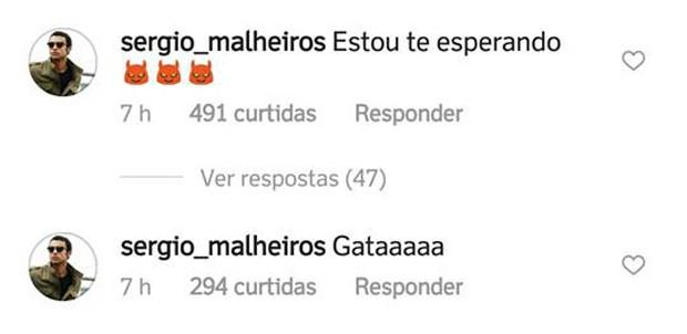 Sérgio Malheiros deixa comentário sugestivo em foto de Sophia Abrahão (Foto: Reprodução/Instagram)