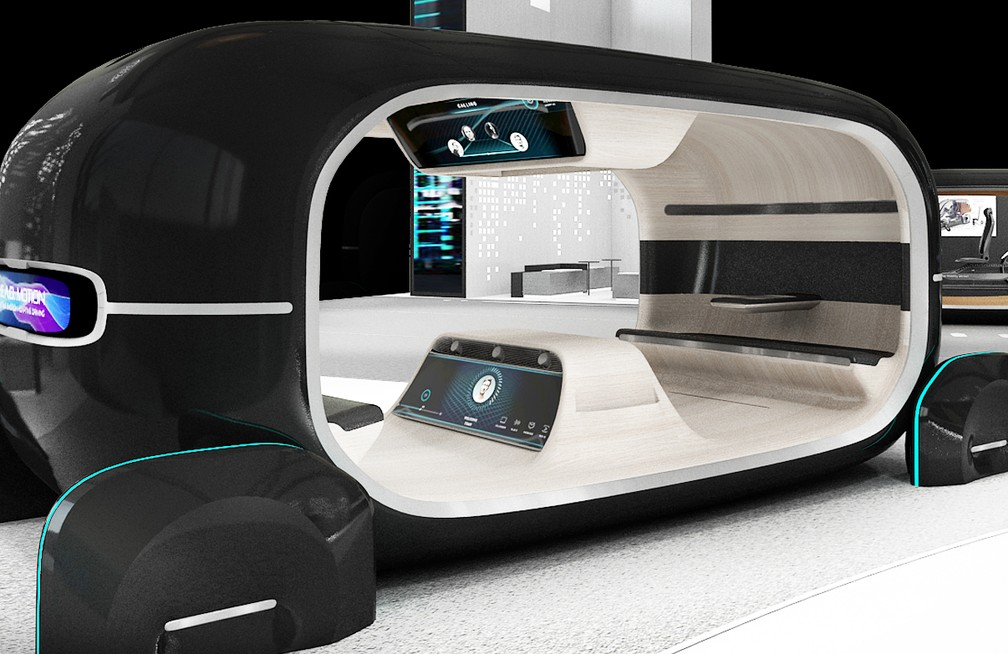 Sem carros, estande da Kia demonstra tecnologias em cabines — Foto: Divulgação/Kia