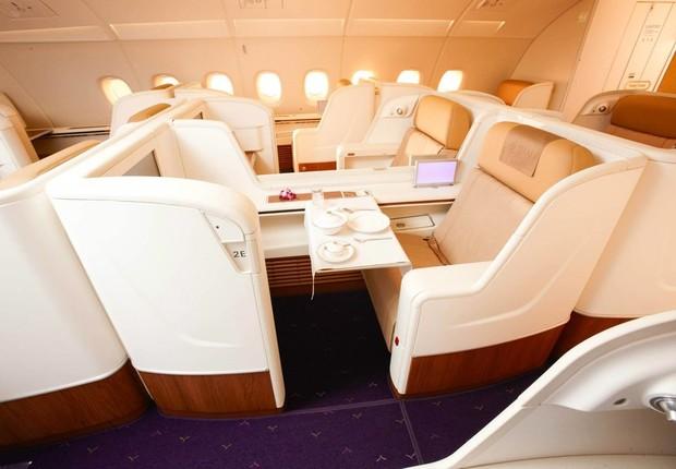 Cabine de primeira classe da Thai Airways (Foto: Thai Airways/Divulgação)