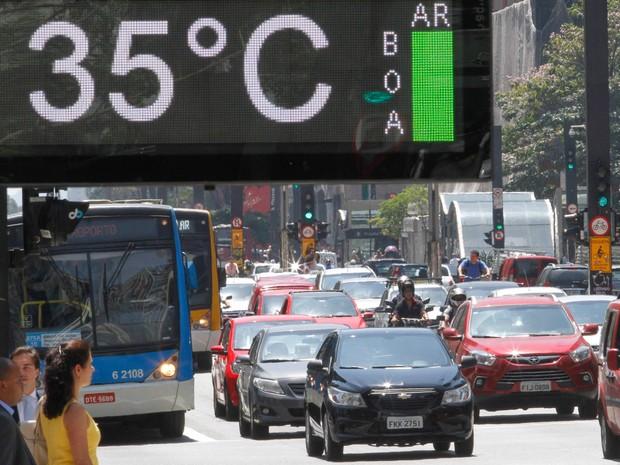 Um termômetro na Avenida Paulista, em São Paulo, exibe a temperatura de 35ºC na tarde desta segunda (17) (Foto: Marcelo D. Sants/Framephoto/Estadão Conteúdo)