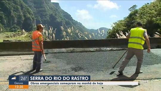Obras emergenciais são feitas na Serra do Rio do Rastro que está interditada em SC
