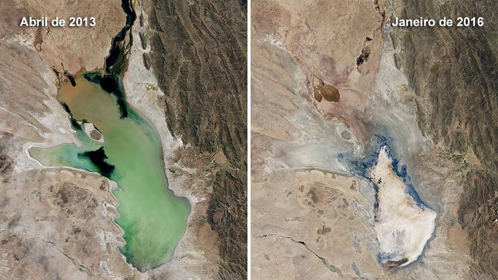 O lago Poopó fotografado de um satélite da NASA; a diferença entre uma foto e a outra é de 3 anos (Foto: BBC)