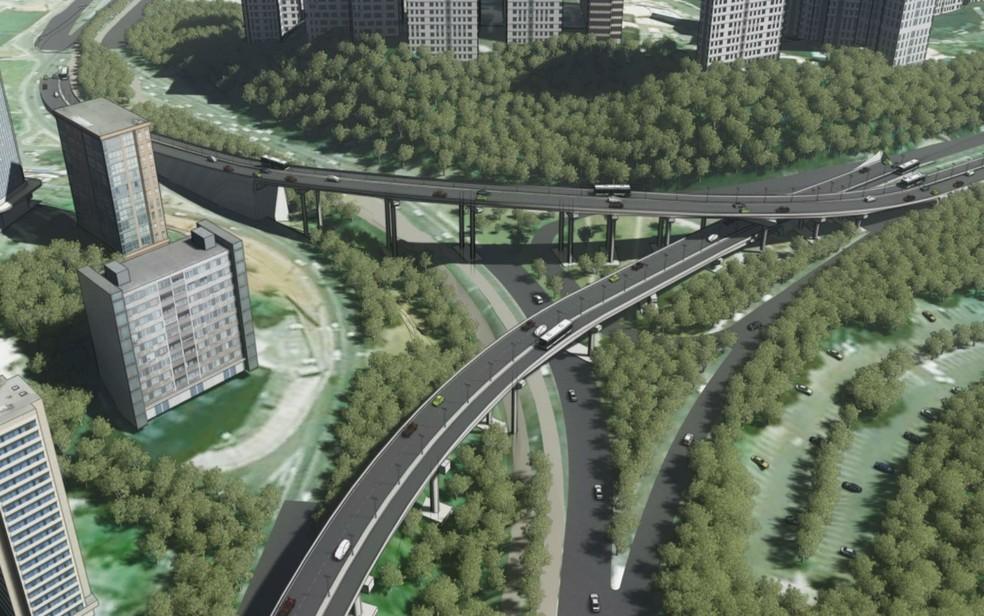 Projeto do BRT prevê 3 viadutos e dois elevados, na primeira linha (Foto: Divulgação/ Prefeitura de Salvador)