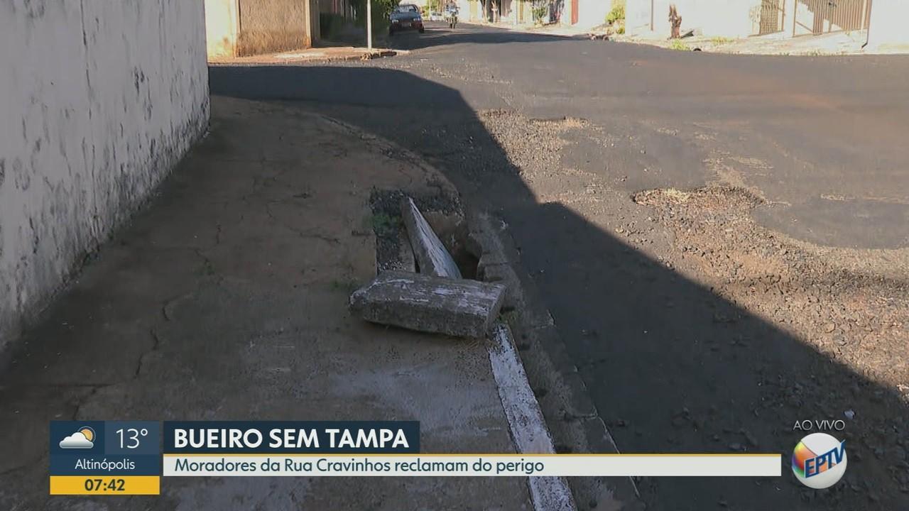 Moradores reclamam de bueiro sem tampa no Jardim Paulistano em Ribeirão Preto