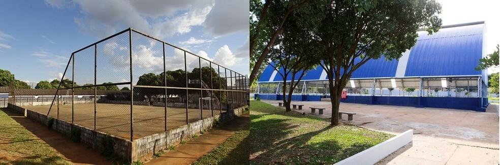 Antes e depois de reparos na quadra da Escola Municipal Professora Maria Leonor de Freitas Barbosa em Uberlândia — Foto: Prefeitura de Uberlândia/Divulgação
