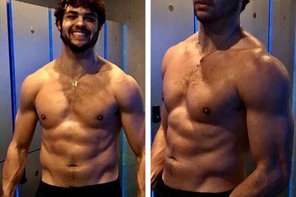 O ator Noah Centineo mostra o resultado dos seus treinos para o remake de Mestres do Universo (Foto: Reprodução / Instagram)